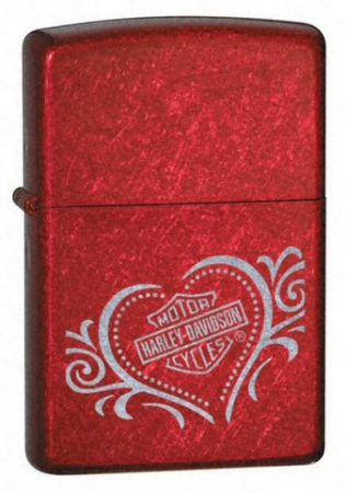 Зажигалка Zippo Harley Davidson Heart Candy Apple Red артикул 21079